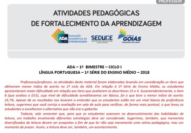 ADA - LINGUAGENS - FORTALECIMENTO DA APRENDIZAGEM